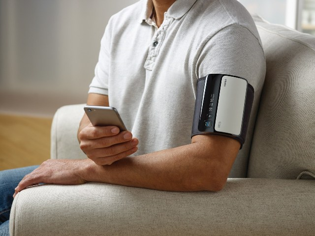Monitoring your blood pressure regularly is easy with highly accurate devices designed for at-home use. The Omron EVOLV® wireless upper arm device syncs to your smartphone via the Omron Connect US app, so data can be stored, tracked and shared with your doctor. (PRNewsfoto/Omron Healthcare, Inc.)